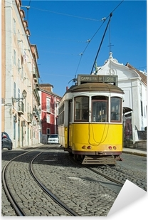 Pixerstick Sticker Lissabon Tram Geel - Lijn 28