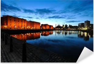 Pixerstick Sticker Liverpool skyline bij nacht
