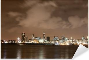 Pixerstick Sticker Liverpool Vuurwerk Panorama op New Year's Eve