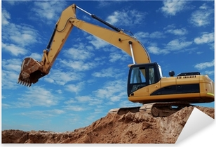 Loader excavator with raised boom Pixerstick Sticker