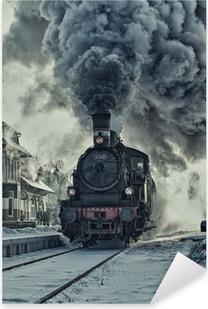 Sticker Pixerstick Locomotive à vapeur dans la neige - la gare