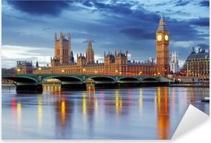 Pixerstick Sticker Londen - Big Ben en huizen van het parlement, UK