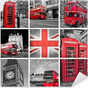 Sticker Pixerstick Londres les photos collage, couleur sélective