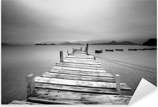 Looking over a pier and boats, black and white Pixerstick Sticker