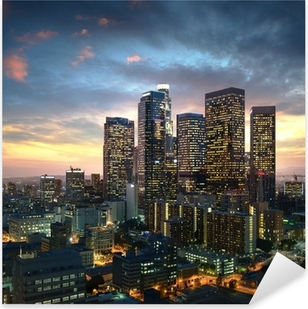 Los Angeles downtown at sunset, California Pixerstick Sticker