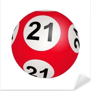 Pixerstick Sticker Lotto trekking, bal nummer 21