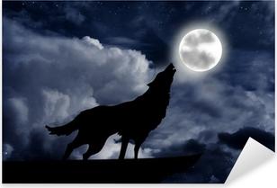 Sticker Pixerstick Loup hurlant à la pleine lune
