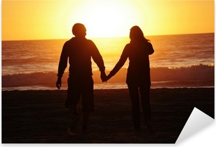 loving couple beach sunset Pixerstick Sticker