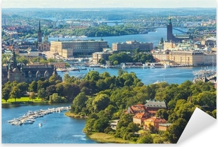 Pixerstick Sticker Luchtfoto panorama van Stockholm, Zweden