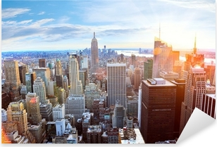 Pixerstick Sticker Luchtfoto van de skyline van Manhattan bij zonsondergang, New York City