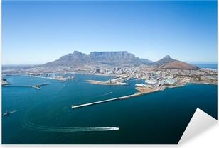 Pixerstick Sticker Luchtfoto van Kaapstad en Tafelberg, Zuid-Afrika