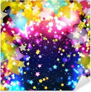 Sticker Pixerstick Lumineuses étoiles volantes colorées sur un fond fantastique conception.