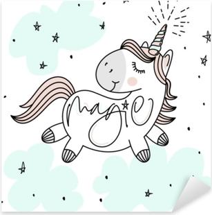 Pixerstick Sticker Magische schattige Eenhoorn, sterren, wolken en hand belettering poster, wenskaart, vectorillustratie met omtrek