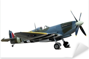 Sticker Pixerstick Magnifiquement restaurée millésime WW2 Spitfire isolé sur blanc