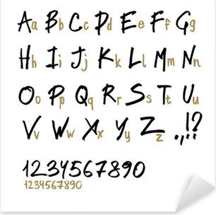 Sticker Pixerstick Main dessinée lettres de l'alphabet, dans deux faces (minuscules et majuscules).