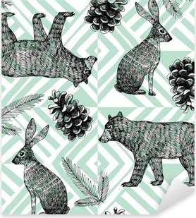 Sticker Pixerstick Main hiver dessiné motif tendance, fond géométrique