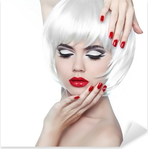 Makeup and Hairstyle. Red Lips and Manicured Nails. Fashion Beau Pixerstick Sticker