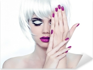 Makeup and Manicured polish nails. Fashion Style Beauty Woman Po Pixerstick Sticker