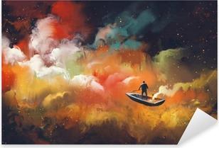 Pixerstick Sticker Man op een boot in de ruimte met kleurrijke wolk, illustratie