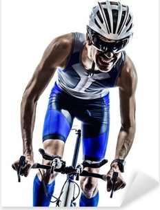 man triathlon iron man athlete cyclists bicycling Pixerstick Sticker
