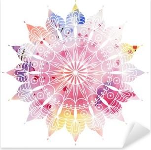 Pixerstick Sticker Mandala kleurrijke aquarel. Mooie ronde patroon. Gedetailleerde abstracte patroon. Decoratief geïsoleerd.