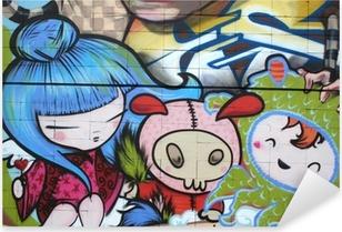 Sticker Pixerstick Manga dibujo. graffiti arte urbano