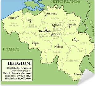 Map of Belgium Pixerstick Sticker