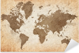 map of the world with a textured background Pixerstick Sticker