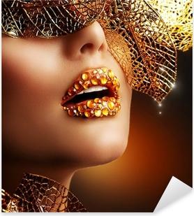 Sticker Pixerstick Maquillage de luxe d'or. Belle vacances Professional Make-up
