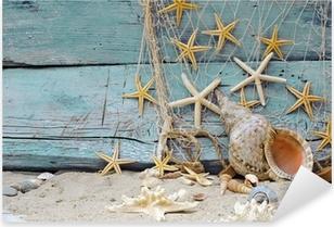 Pixerstick Sticker Maritiem Decoratie: visnet, schelpen en zeesterren