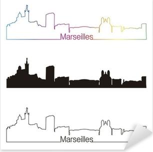 Pixerstick Sticker Marseille skyline lineaire stijl met regenboog
