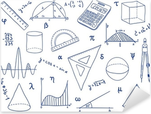 Mathematics - school supplies, geometric shapes and expressions Pixerstick Sticker