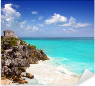 Sticker Pixerstick Maya antique ruines de Tulum Caraïbes turquoise