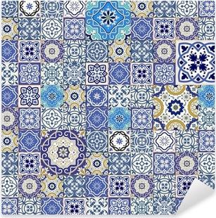 Pixerstick Sticker Mega naadloze patchwork patroon van kleurrijke Marokkaanse tegels