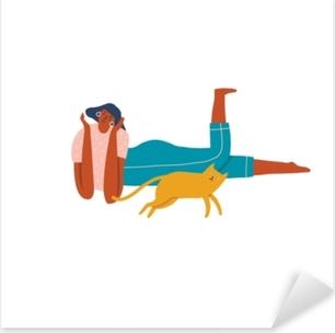 Pixerstick Sticker Meisje een een kat chillen samen illustratie in vector.