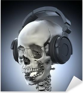 Pixerstick Sticker Menselijke schedel met een hoofdtelefoon