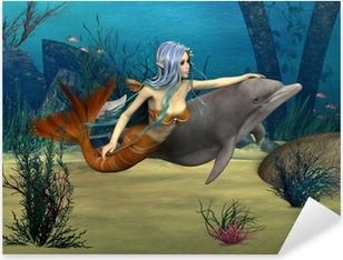 Pixerstick Sticker Mermaid en Dolphin