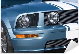 Metallic blue modern American muscle car Pixerstick Sticker