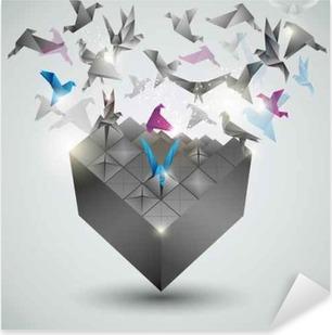 Metamorphosis.Cube is transforming into a flock of birds. Pixerstick Sticker
