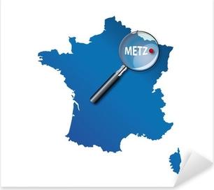 Sticker Pixerstick Metz: Carte de France - département de la Moselle