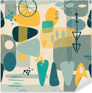Mid century shapes abstract seamless vector background. 1950s print. Retro inspired shapes squares, rectangles, drops, and triangles in blue, yellow, gray on beige. Distressed vintage print. Fifties Pixerstick Sticker