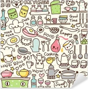 Sticker Pixerstick Mignon trucs cuisine doodle