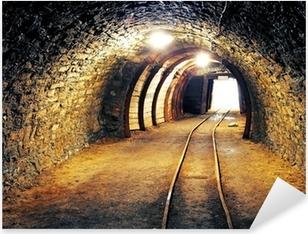 Pixerstick Sticker Mijn goud ondergrondse tunnel spoorweg