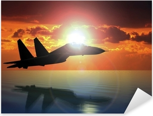 Military Aircraft Flying on Bright Sun Pixerstick Sticker