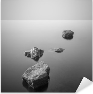 Sticker Pixerstick Minimaliste paysage brumeux. Noir et blanc.
