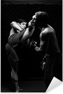 MMA - Mixed martial artists fighting - kicking Pixerstick Sticker