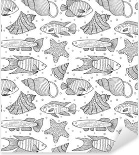 Sticker Pixerstick Modèle avec des poissons et des coquillages.