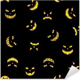 Sticker Pixerstick Modèle sans couture avec citrouilles d'halloween sculpté silhouettes de visages sur fond noir. fond d'halloween