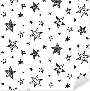 Sticker Pixerstick Modèle sans couture avec des étoiles dessinées à la main. style scandinave