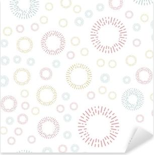 Sticker Pixerstick Modèle textile sans couture simple avec des éléments ronds de couleur. illusrtration de fond de vecteur.